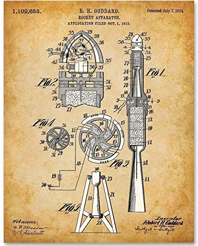 Goddard Rocket Apparatus - 11x14 Unframed Patent Print - Makes a Great Gift Under $15 for Space Fans or Astronomers