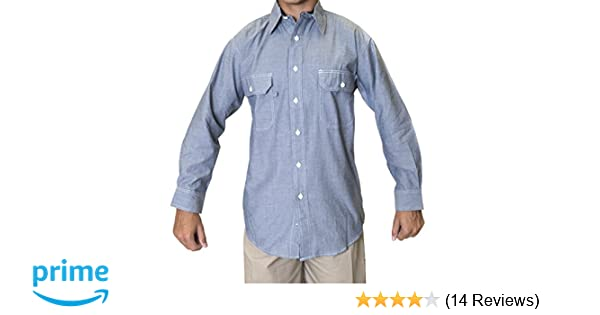 71822a250d22 Ws Blue Collar Outlet Men's Chambray Long Sleeve Shirt, Two Front Pocket  with Mitered Flaps at Amazon Men's Clothing store: