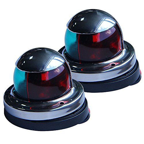 One Pair Bi-Color Stainless Steel Marine Boat Yacht Light LED Bow Navigation (Deck Mount Side Light)