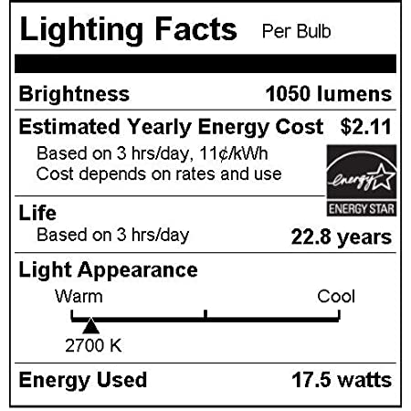 6 Pack 85W Replacement Reflector Light Bulbs with Medium E26 Base Sunlite PAR38//LED//18W//FL40//DIM//ES//27K//6PK 2700K Warm White LED PAR38 18W