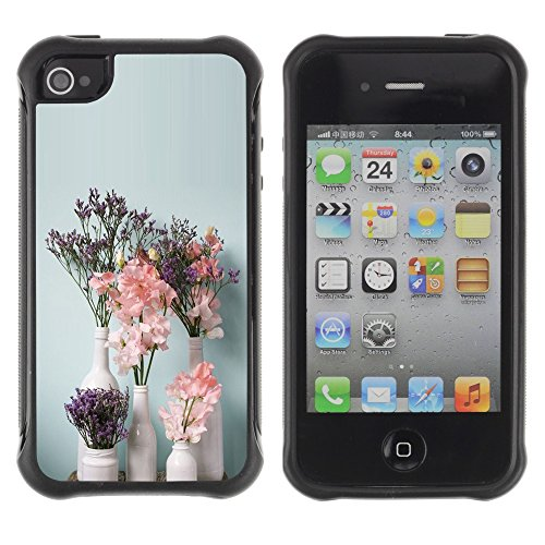 Apple Iphone 4 / 4S - Art Flowers Vases White