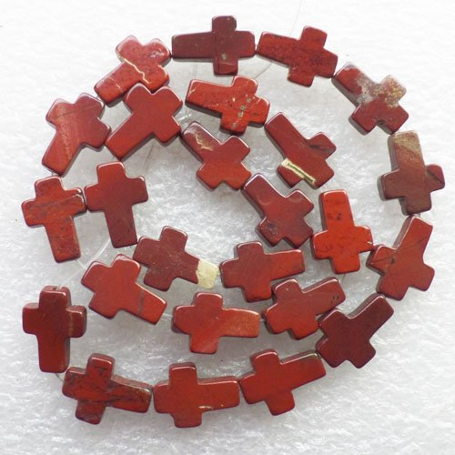 (Yuteng Jewelry®16x13x5mm Interesting Red Jasper Cross Loose Bead 15.5 Inch)