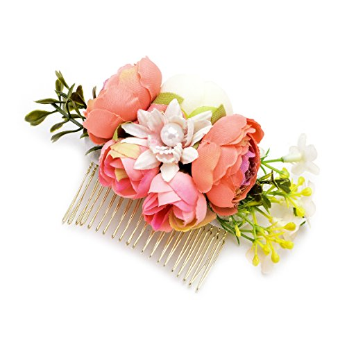 DreamLily Wedding Bridal Camellia Flower Hair Comb Woodland Hair Pins Headpiece JZ05 (Coral)