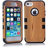 iPhone 5S Case, LERBO Hard Wood With Silicone Design Hybrid case for iphone5 5S(Black)
