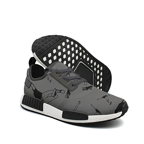 Men's Casual Fashion Sneaker Boy Skateboarding Illustration Breathable Lightweight Running Shoes (Torpedo Selection)
