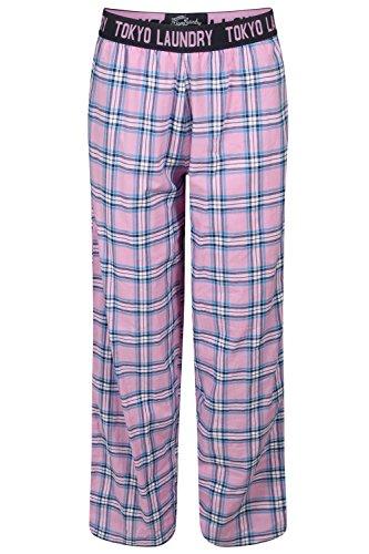 Femmes Tokyo Laundry À Carreaux Léger Coton Doux Pantalon De Détente - Lilas Brouillard - Rose, Small