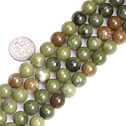 Joe Foreman Green Canada Jade Beads for Jewelry Making Natural Gemstone Semi Precious 10mm Round Green 15