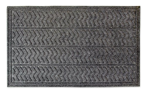 (DII Indoor/Outdoor Industrial, Durable Non-Slip Polypropylene Fiber, Hog Mat Easy Clean Rubber Back Entry Way Doormat for Patio, Front Door, All Weather, Exterior Doors, 18 x 30 - Dark Gray Chevron)