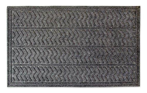 DII Indoor/Outdoor Industrial, Durable Non-Slip Polypropylene Fiber, Hog Mat Easy Clean Rubber Back Entry Way Doormat For Patio, Front Door, All Weather, Exterior Doors, 18 x 30' - Dark Gray Chevron
