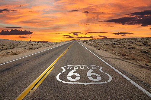 12-Feet wide by 8-Feet high. Prepasted robust wallpaper mural from a photo of: Route 66 an American Movies Icon. Our murals are easy to install remove and reuse (hang again)If you do as in our video (Road Mural)
