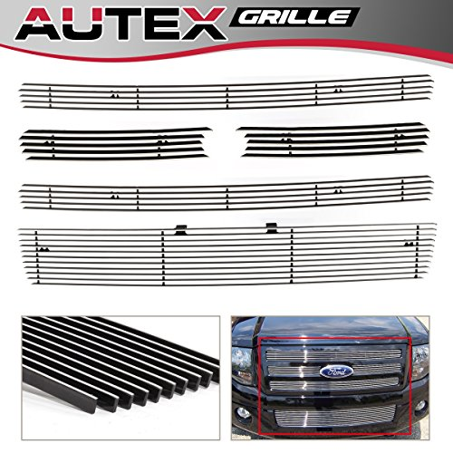 (AUTEX Billet Grille Insert Compatible With Ford Expedition 2007 2008 2009 2010 2011 2012 2013 2014 Grill Combo Main Upper+Lower Bumper F67832A)