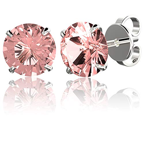 .925 Sterling Silver Hypoallergenic Pink Cubic Zirconia Round Brilliant-Cut Stud Earrings, - Silver Crystal Sterling Pink
