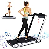 ANCHEER 2 in 1 Electric Folding Treadmill, 2.25HP Under Desk Treadmill, Portable Space Saving Fitness Motorized Walking Running Machine with Bluetooth Audio Speakers (Gray)