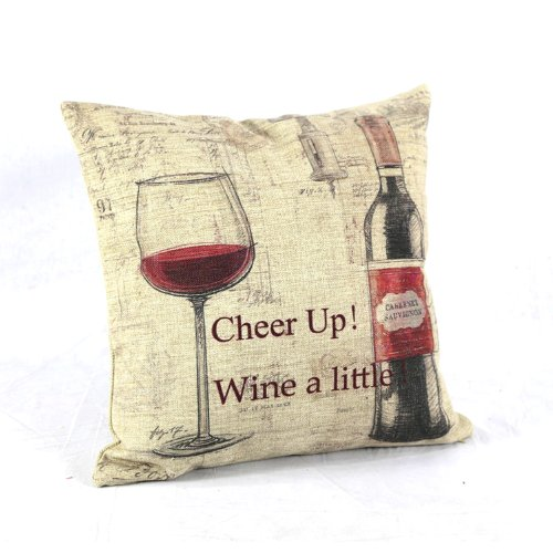 Prettypillow New Decor Cotton Linen Throw Pillow Cover Red Wine 18X18¡±