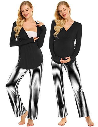 Ekouaer Maternity & Nursing Pajama Set,Striped Long Sleeve Breastfeeding Sleepwear (Black Striped XXL)