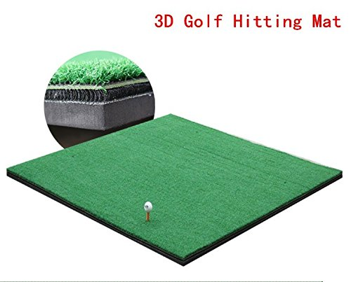 Greatgymats Golf Hitting Mat 5'x5′ with 3D Interlayer, Golf Chipping and Driving Swing Practice Mat