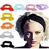 #7: DRESHOW 10 Pack Boho Headbands for Women Vintage Flower Printed Criss Cross Elastic Head Wrap Twisted Cute Hair Accessories
