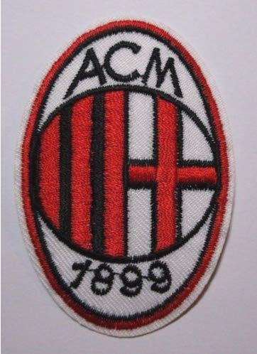 (AC Milan Soccer Football Team Logo Military Patch Fabric Embroidered Badges Patch Tactical Stickers for Clothes with Hook & Loop)