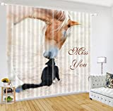 LB Teen Kids Room Decor Collection,2 Panels Room Darkening Blackout Curtains,The Horse's Love 3D Effect Print Window Treatment Living Room Bedroom Window Drapes,104 x 96 Inches
