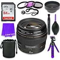 Canon EF 85mm f/1.8 USM Lens for Canon DSLR Cameras & SanDisk 64GB Class 10 Memory Card + Complete Accessory Kit (11 Items)