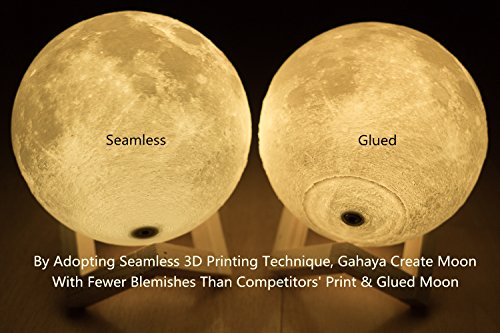 Gahaya 16 Colors 【Seamless】 Moon Lamp, 【Remote】 & Touch Control, Unibody Forming 3D Printed, PLA material, USB Recharge, Diameter 7.1''/18cm by Gahaya (Image #1)