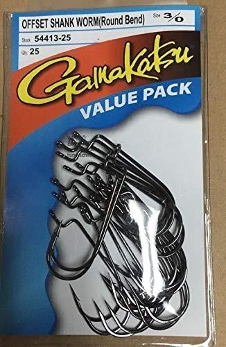 Gamakatsu Bulk Packs Hooks Offset Shank Worm Round Bend 3/0 54413-25