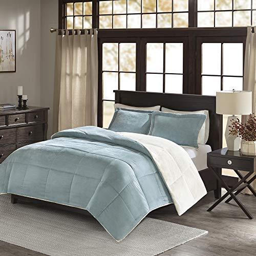 - Madison Park Jackson Corduroy Reverse to Berber Comforter Mini Set, Full/ Queen, Blue