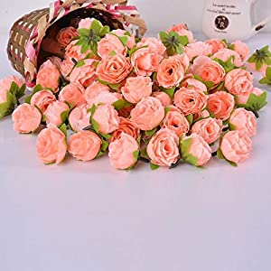XGM GOU 50Pcs Artificial Silk Rose Peony Flower Heads Bulk Craft Wedding Party Decorative Wreaths Bouquet 68