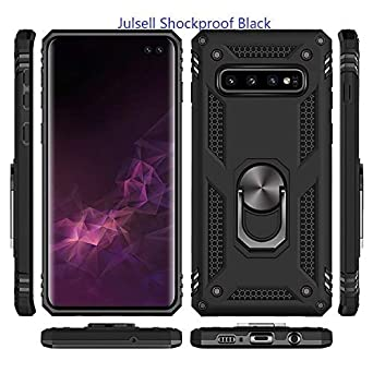 Julsell Silver Phone case for Samsung Galaxy S10e Samsung Galaxy S10e Magnetic Shockproof Adsorption Hard Armor Ring Holder for Car Mount with Kickstand