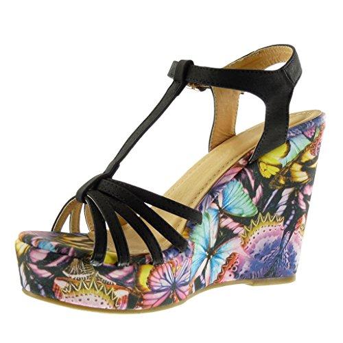 Angkorly - Chaussure Mode Sandale Mule salomés plateforme femme fleurs multi-bride Talon compensé plateforme 11.5 CM - Noir