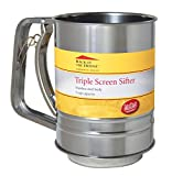 TableCraft H2996BHM Stainless Steel 3-Cup Triple Screen Sifter