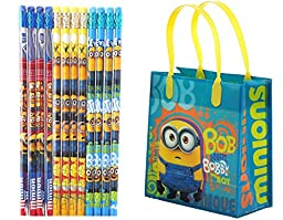 Despicable Me Minions Party Favor Gift Bags with Pencils Bundle for 12 Guests