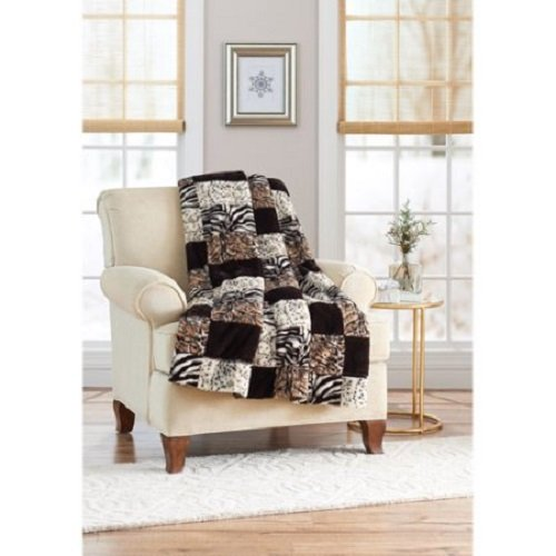 Better Homes & Garden Animal Patchwork Faux Fur Throw from Better Homes and Garden