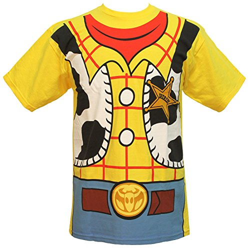 Toy Story Woody Cowboy Costume Adult T-shirt Tee (Small, Yellow)