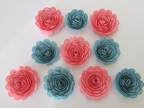 Baby Shower Decor, Pink and Blue Roses Set of 10, Trending Colors, 3