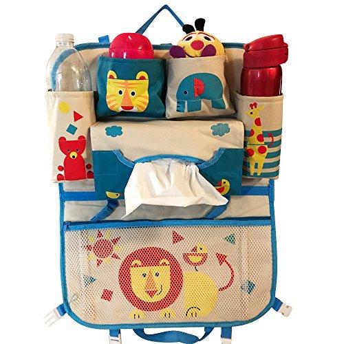Kids Car Organizer, Multi-Pocket, Multi-Purpose Backseat Travel Storage for Baby, Kids, Toddlers- Foldable, Durable, Canvas- Baby Kick Mat, Seat - Shopping In Tahoe