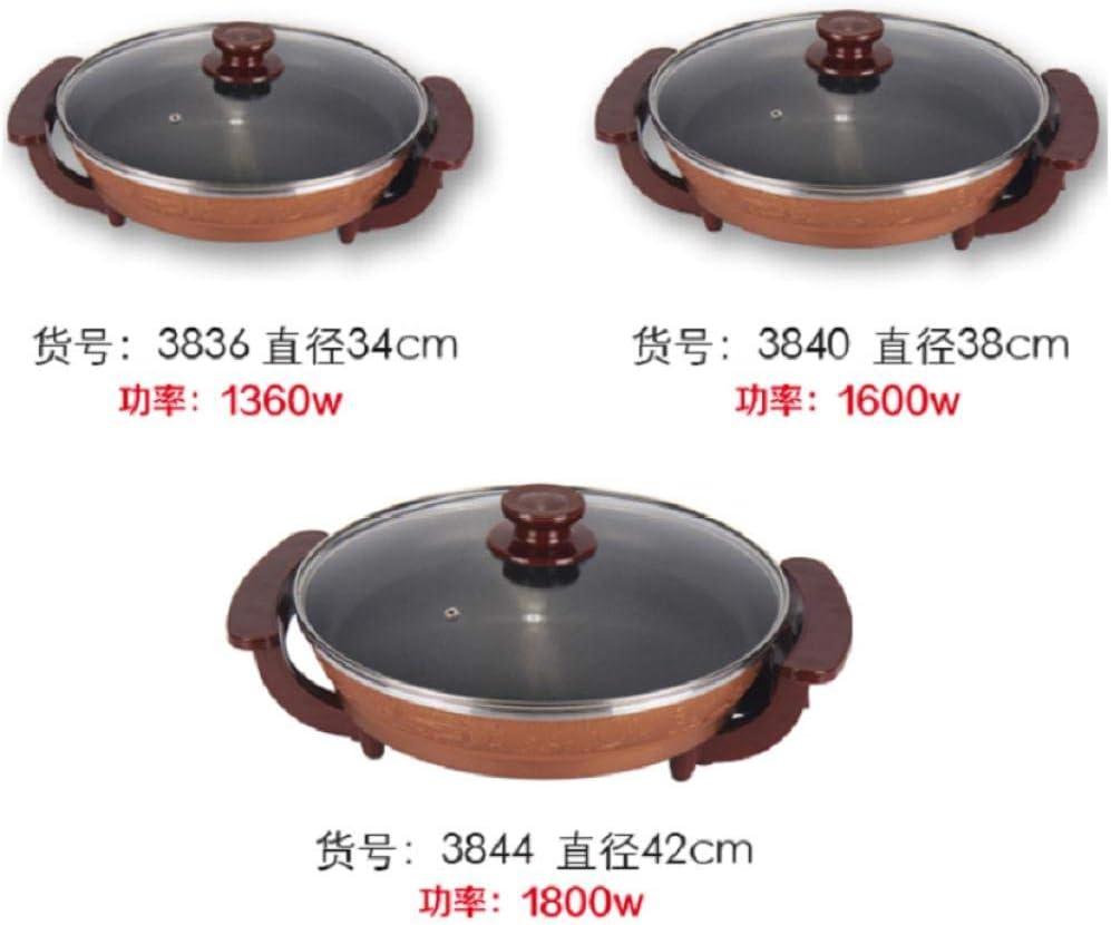 Gangkun Padella elettrica, Padella elettrica Multifunzione, Padella Antiaderente elettrica Anti-Fumo, Padella elettrica-3840 38CM 3836 34cm