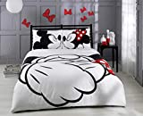 Deconation 100% Cotton Comforter Set Full Queen Size Disney Minnie Loves Kisses Mickey Mouse Heart Theme Bedding Linens Quilt Doona Cover Sheets