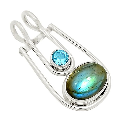 "Xtremegems Labradorite & Blue Topaz 925 Silver Pendant Jewelry 1 3/8"" 23040P from Xtremegems"