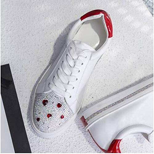 Summer Mujer Sneakers Comfort Heel Zapatos Toe de Leather Nappa Red Flat Red Closed Black ZHZNVX Spring HYEqF