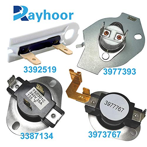 Rayhoor 3977393 Thermal Fuse 3977767 Dryer Thermostat 3392519 Dryer Thermal Fuse 3387134 for Whirlpool Kenmore Maytag Dryers Replaces Parts 3399693 WP3977767VP PS345113 AP6008325 WP3977393