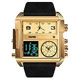 SKMEI Men's Digital Sports Watch, LED Square Large Face Analog Quartz Wrist Watch