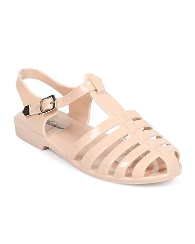 c95160038ee94 Women Jelly Classic Fisherman Gladiator Sandal Flat EA66 - Nude (Size  5.5)