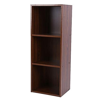 Heaven Tvcz Bookshelf 3 Layers Antique Oak Bookcase Display Storage Shelving Shelf Organizer Book Home