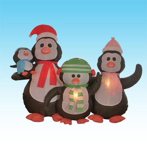 5 Foot Christmas Inflatable Penguins Family