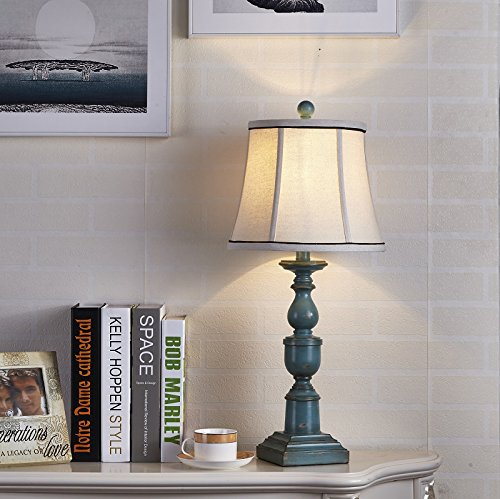 LampRight European Mediterranean Country Style Retro Desk & Table Lamp - Traditional Elegant Hand-Carved Resin Base with High Grade Fabric Lampshade, Perfect for Living Room, or Bedside