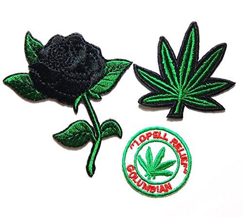 PP patch Set 3 Black rose patch , Marijuana Weed Green Leaf patch , lopell relief columbian patch DIY Applique Embroidery Iron on - Diy Hippy Costume
