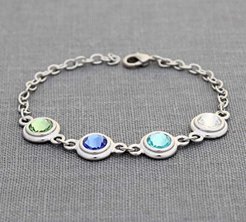 Birthstone Bracelet for Mom, Personalized Mother's Day Gifts, Custom Birthstone Jewelry for Grandma