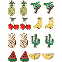 Mtlee 8 Pairs Small Cute Fruit Earrings Pineapple Cherry Stud Earrings Set for Girls Women