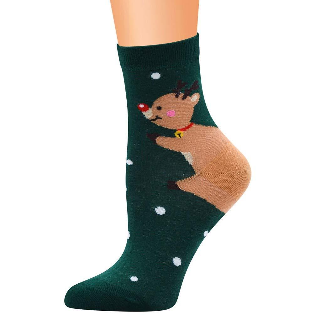 Artistic9 Weihnachtssocken Damen Tupfen B/är Weihnachtsmann Druck Winter Element Crew Socke Baumwolle Weiche rutschfeste S/öckchen Urlaub Warme Lange Stiefelsocke